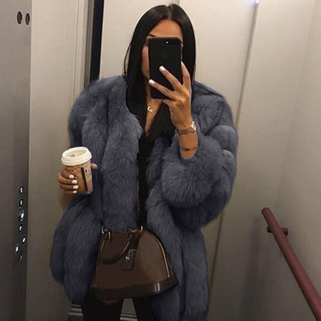 Las mujeres capa del invierno más el tamaño forman la capa corta de imitación de piel caliente peludas chaquetas de manga larga de vestir exteriores dames kleding #sw