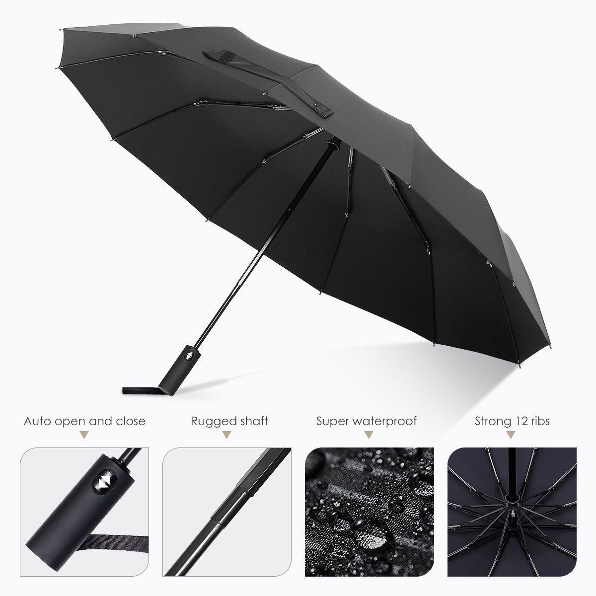 자동 열기 닫기 버튼 컴팩트 보호 우산 (12) 갈비 방풍 여행 우산 테플론 숲 연장 핸들