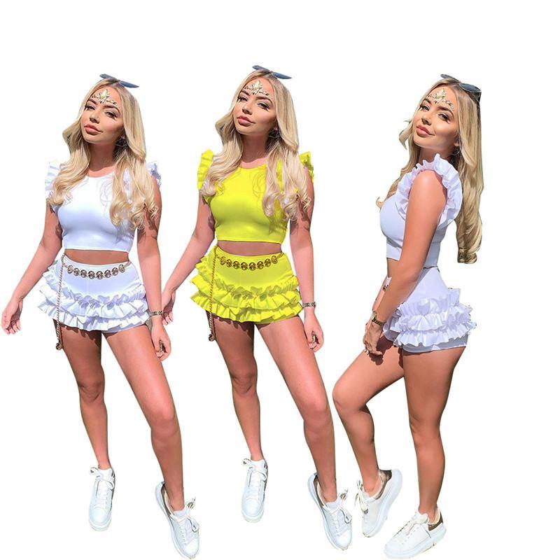 Verão Mulheres Shorts Treino mangas Falbala Camiseta Tops + Shorts 2 Piece Set Cor Sólidos T-shirt Outfit Meninas Moda Sportswear Nova