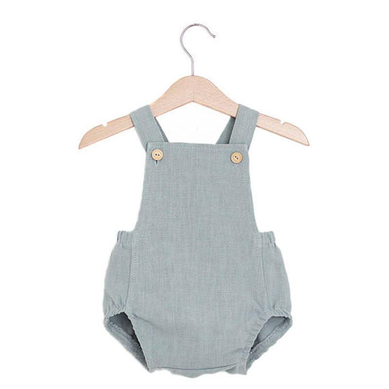 Gray Newborn Kids Baby Boy Girl Cotton and linen Romper Summer Clothes Jumpsuit