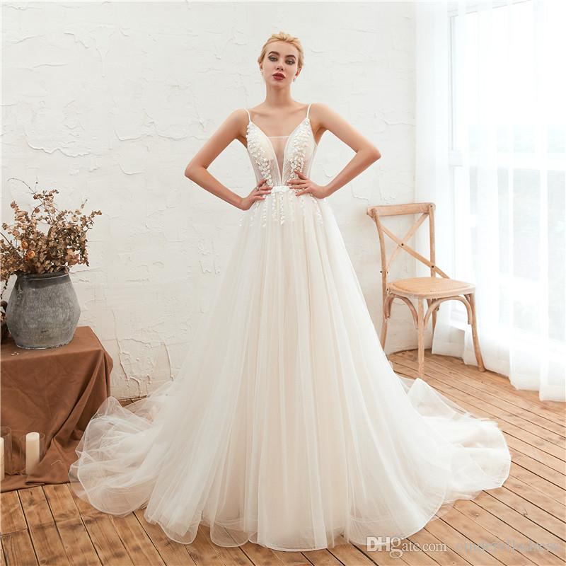 2020 Sexy Spaghetti Straps White Ivory Tulle Plus Size Wedding Dresses Bridal Gowns A-Line Lace Applique Vintage Wedding Gowns CPS1312