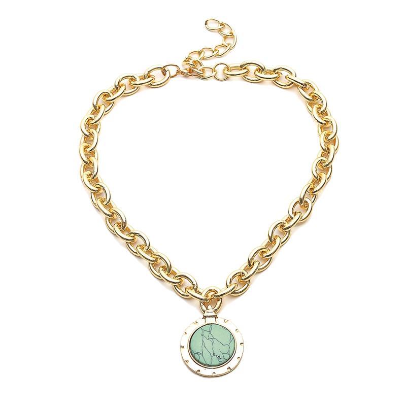 Europeu e moda americana da cor do ouro Temperamento Rodada Cadeia Declaração Vintage colares Bib