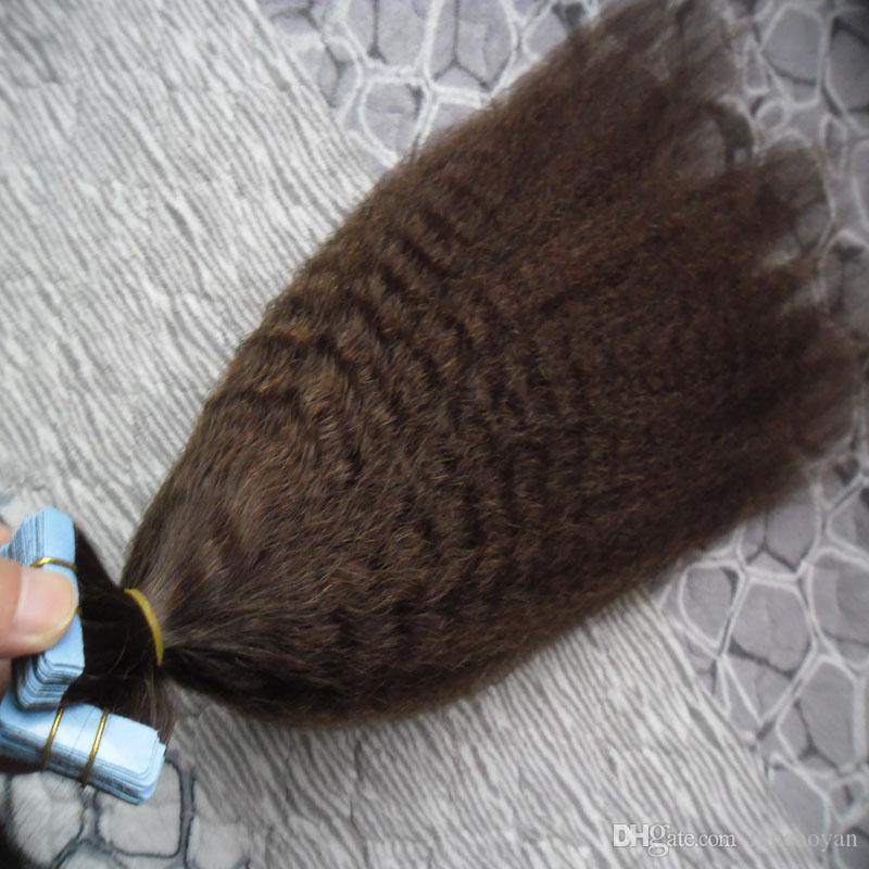 Tape em Extensões de cabelo humano grosseiro yaki 100g Kinky Remy Europeia Pele trama 100% Extensões de cabelo humano em linha reta