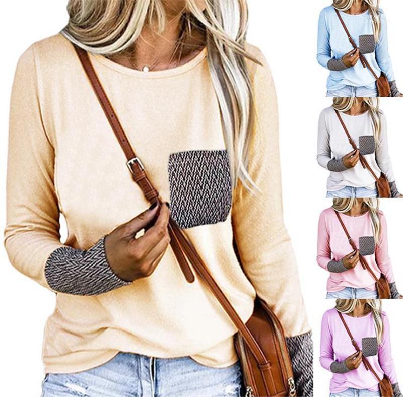Otoño Ropa para Mujer Plus Tamaño diseñador de las mujeres camisetas ocasionales de la manera floja con paneles de bolsillo de cuello redondo de manga larga camiseta