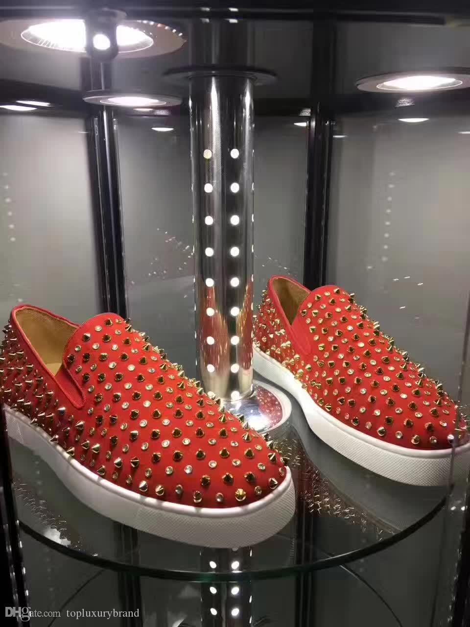Atacado Red preguiçosos Inferior Sapatos Homens, Mulheres rolo Boat cravado Baixa sapatilha de couro genuíno slip-on Full Flat enchidas Rebites Trainers Casual