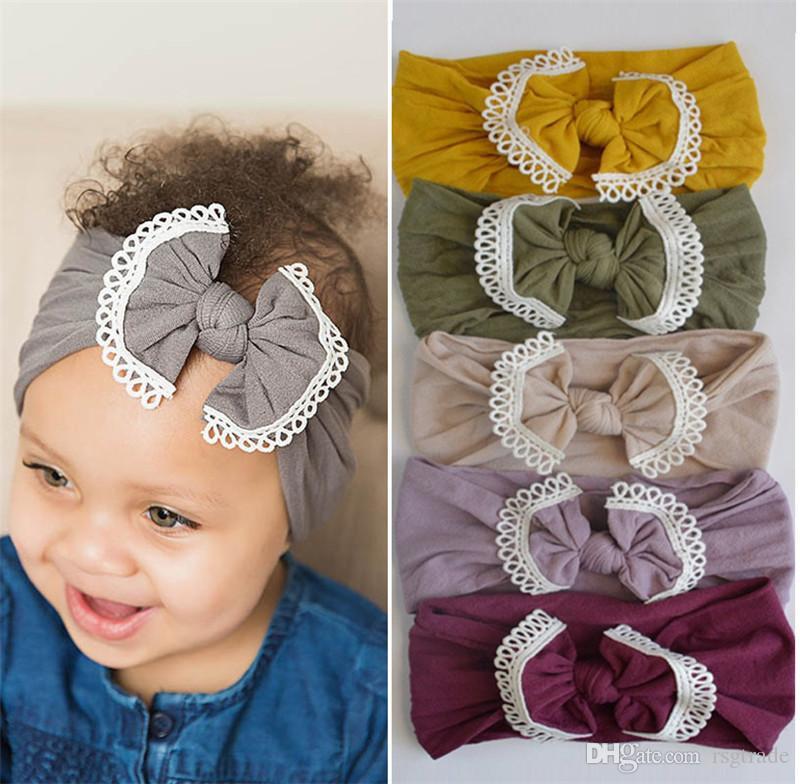 Свободный DHL 21 цветов младенец Hairband малыши Лук Hairband Infant кисточка ребёнка оголовье Большого Узел Тюрбан Дети Аксессуары для волос INS Оптового