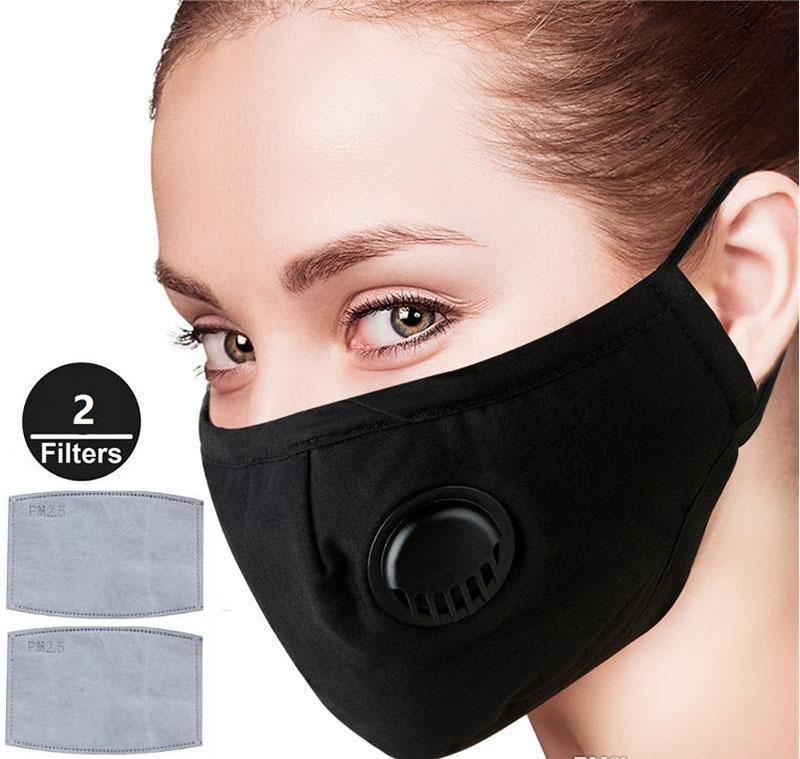 2 Filtreler Kadınlar Man PM2.5 instock için Maske ile DHL Anti Toz, Yüz Maskeleri Tekrar Kullanılabilir Ayarlanabilir Duman