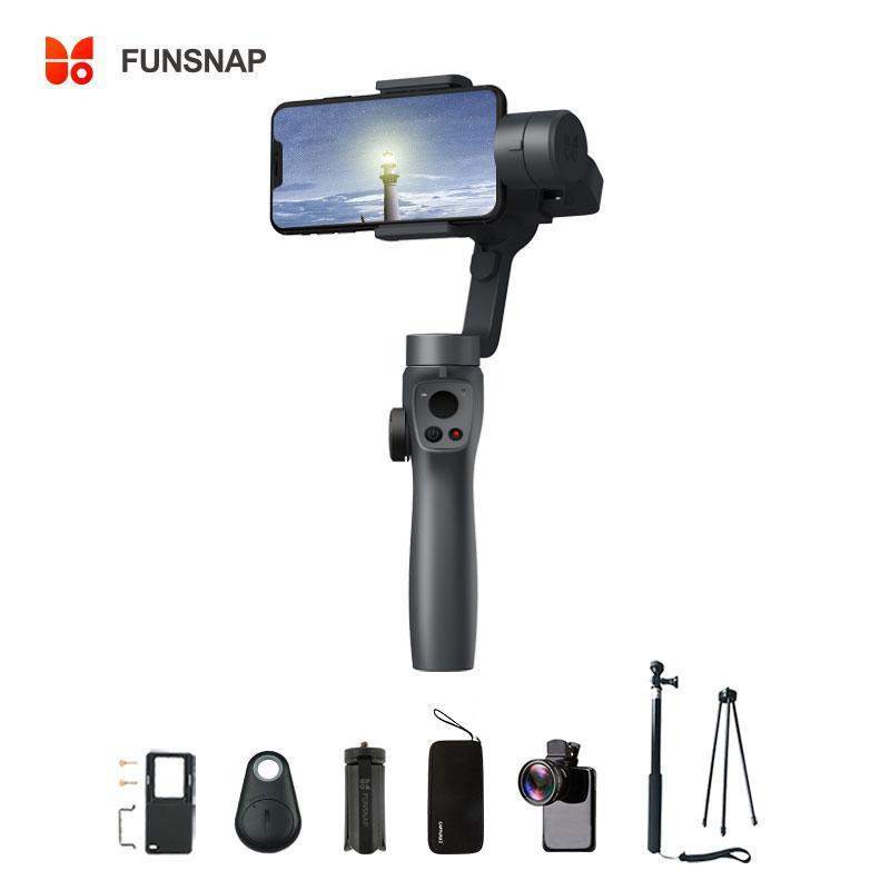 Heißer Verkauf Funsnap Capture-2-Handheld Gimbal Stabilisator 3-Achsen für Smartphone Samsung Iphone X XR 8 7 Gopro Kamera-Aktion EKEN 1 Gimbal Kit