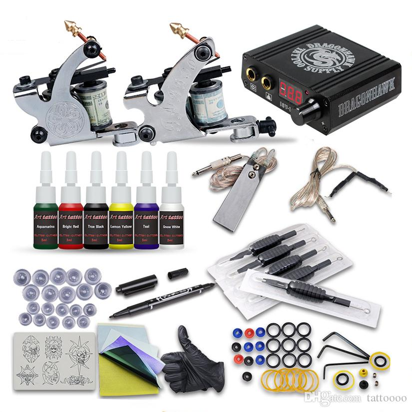 Kit tatuaggi completi 2 Guns Guns Liner Shader 6 Inks Mini Kit di prove per principianti dell'alimentazione LCD LCD