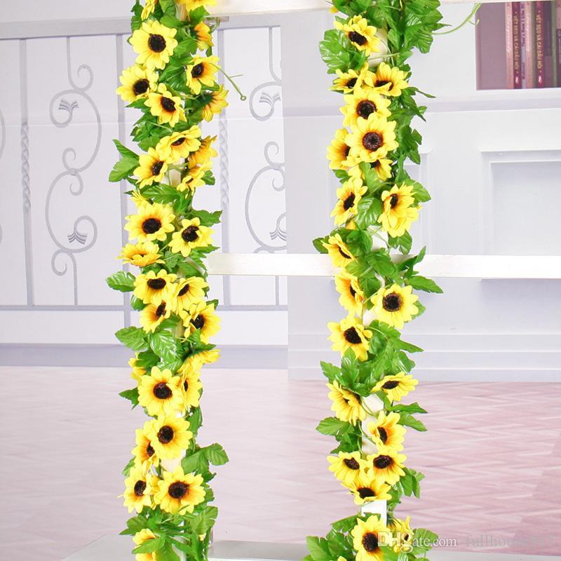 Simulação de seda flor da margarida girassol artificial planta pendurada para pendurar casamento Garland Wall Decor Início Jardim escritório fora Decoração