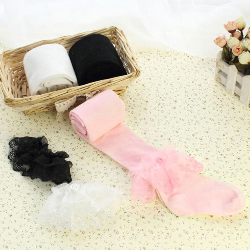 Girls Stockings for Children Kids Pantyhose Baby Cotton Stocking Ballet Dance Tights Lace Black Pink White 1 to 10 Years