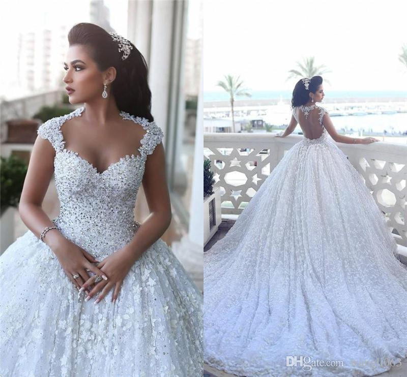 Said Mhamad Luxury Romantic Beads Ball Gown Wedding Dresses 2019 Sexy Open Back 3D-Floral Appliques Crystals Lace Wedding Bridal Gowns