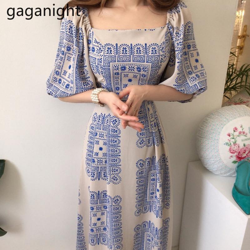 Gaganight Vintage Kadınlar Maxi BODYCON Elbise çekin Kısa Kollu Kare Yaka Lady Yaz Moda Elbiseler Kore İnce Vestido yazdır
