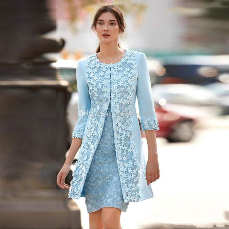 Light Sky Blue Lace Mother Of The Bride Dresses With Long Sleeves Jacket Jewel Neck Wedding Guest Dress Knee Length Appliqued Evening Gowns Groom