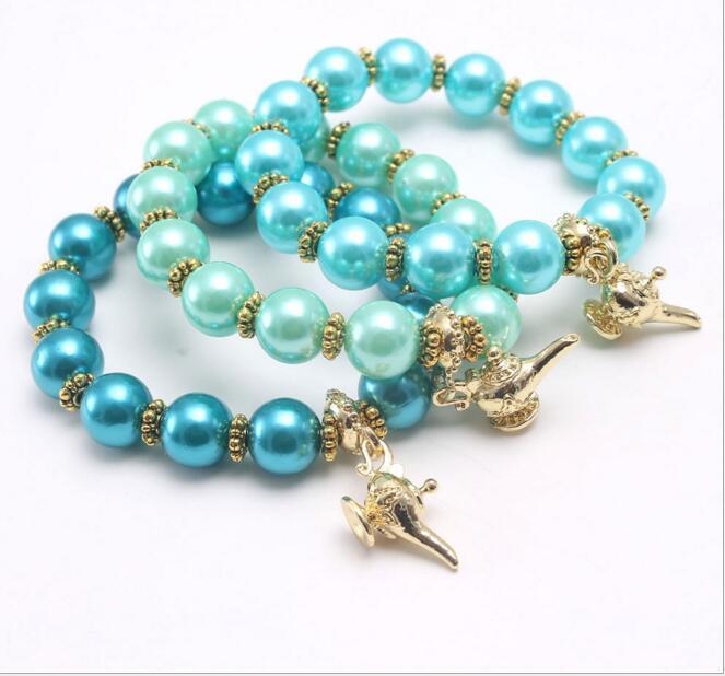 3 farben kinder schmuck armband perlen magische lampe charmante armband niedlich design prinzessin armband für mädchen schmuck geschenk