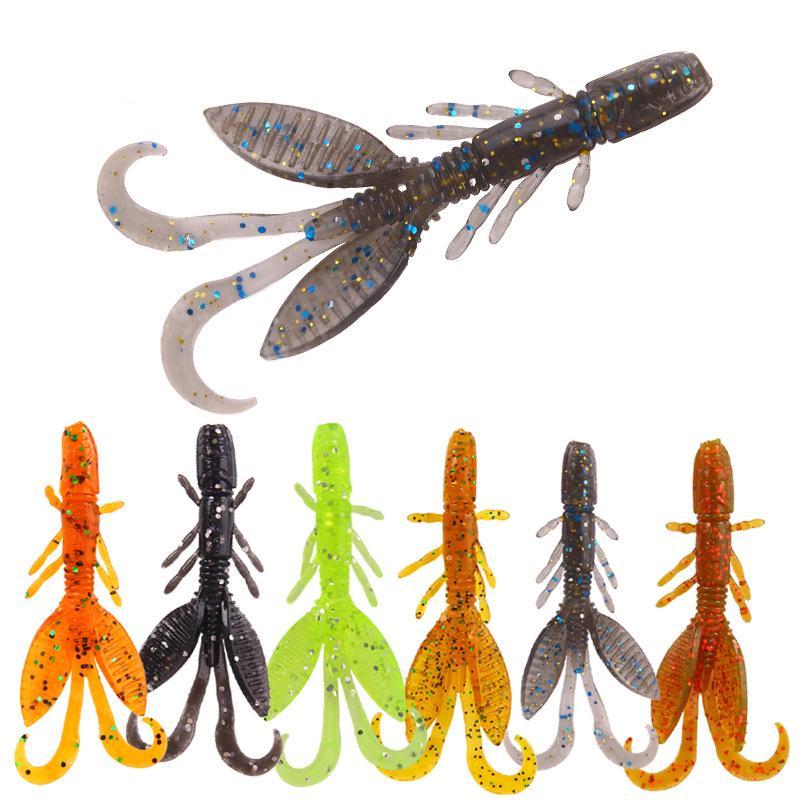 6Bags / Lot 5.5cm / 1.4G Bionic doux Worm Lure Leurre Set Truite basse Kit souple appâts artificiels Lure
