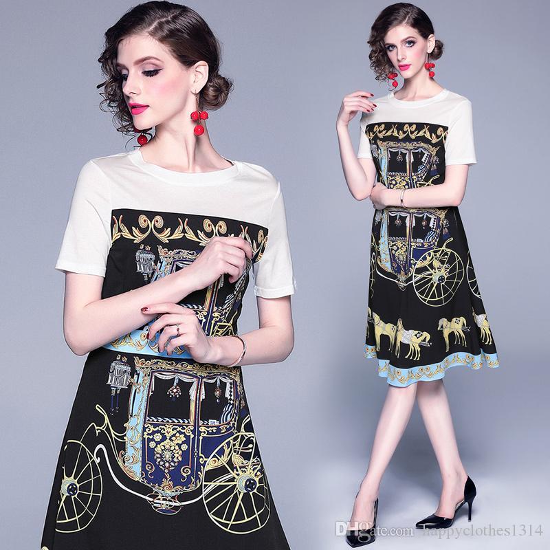 Hochwertige Frauen Vintage gedruckte Gericht-Stil Kleid elegante Kurzarm Rundhalsausschnitt Sexy schlanke Empire-Taille Runway Party Abendkleider
