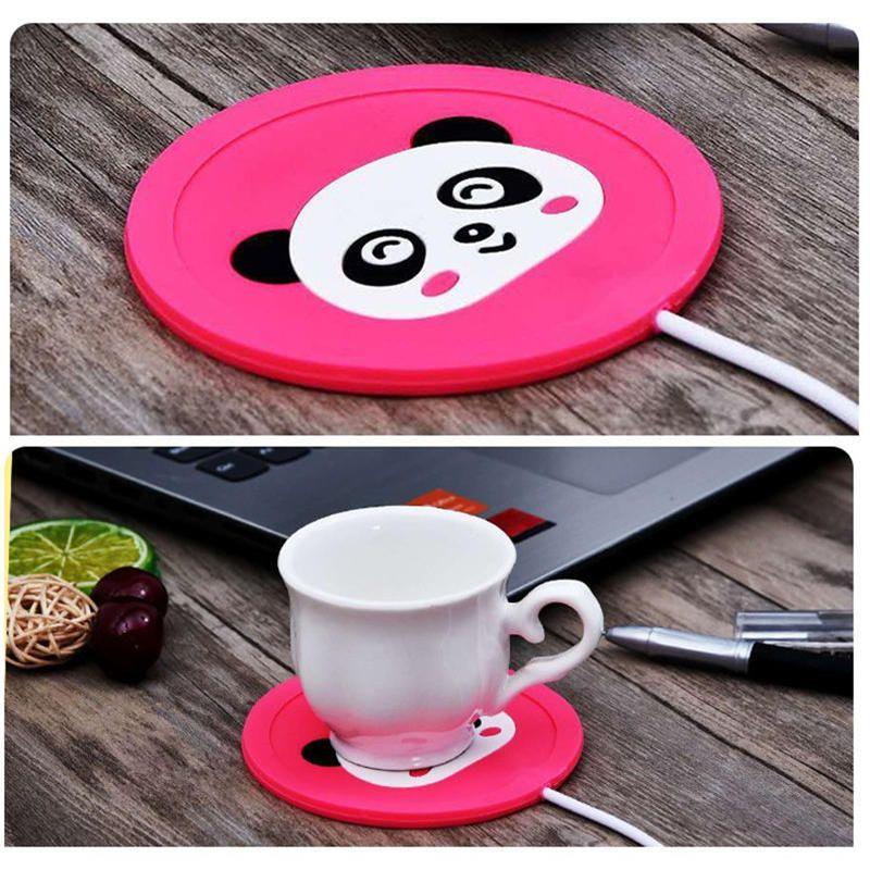 كأس القدح وسادة تدفئة سخان الكرتون سخان USB سيليكون لحليب الشاي القدح القهوة المشروبات الساخنة كأس حصيرة