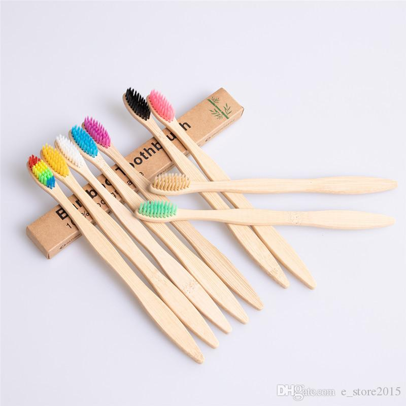Spazzolino da denti da spazzolino da denti in bambù naturale Spazzolino colorato Spazzola a setole morbide 10 colori con confezione scatola di alta qualità