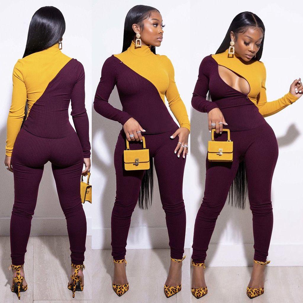 Frauen Topless Patchwork Zweiteilige Sets Langarm Zipper dünne Pub Hosen beiläufige hohe Street Qualitäts-Breath 2ST Suits