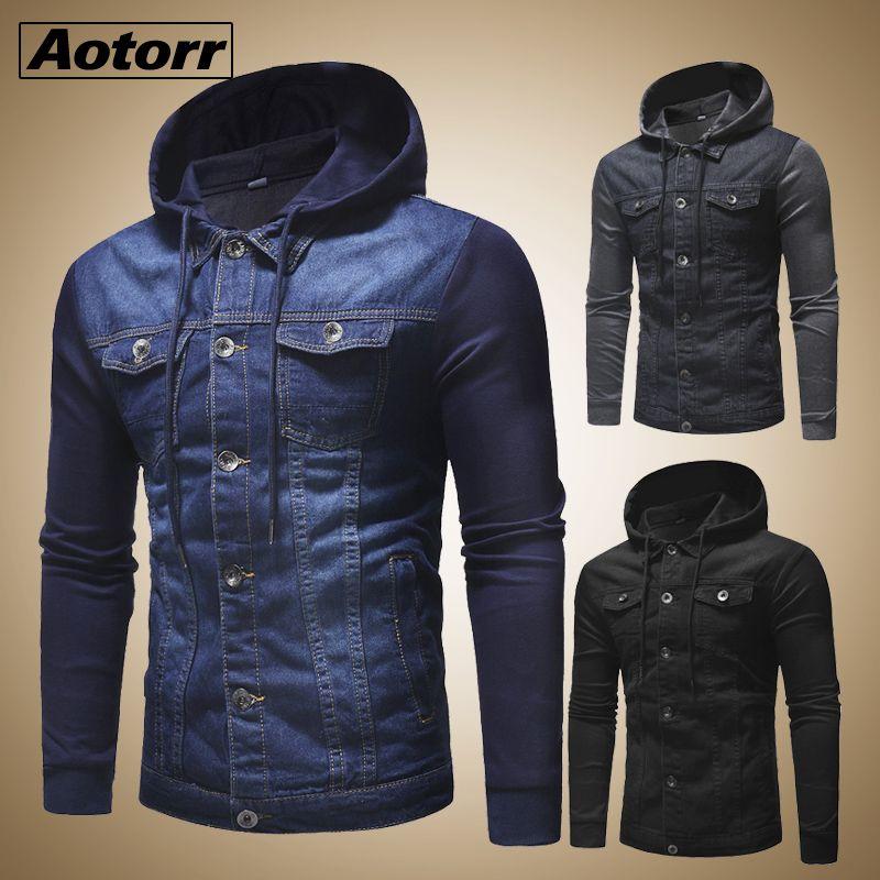 Nuevo 2019 Escudo de varón de alta calidad de la manera remiendo clásico para hombre Ropa de Calle Men Jeans Denim Hombre chaquetas con capucha otoño