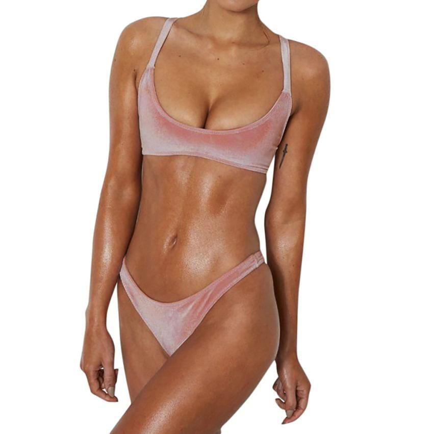 swimming suit for women push up swimwear Velvet bikini set Solid Bra bathing swim suit suit swimwear women Swimsuit Female #LL5