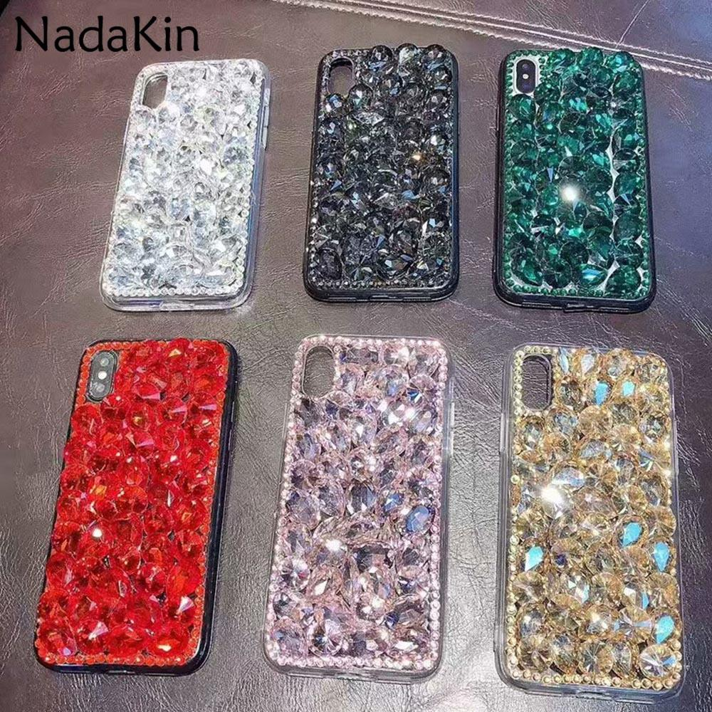Bling Diamond Retour Case pour Huawei Honor 8 9 6X 7X 8X 5C 6C V8 V9 Jouer Magique De Luxe Paillettes Strass Équipé de Couverture Shell