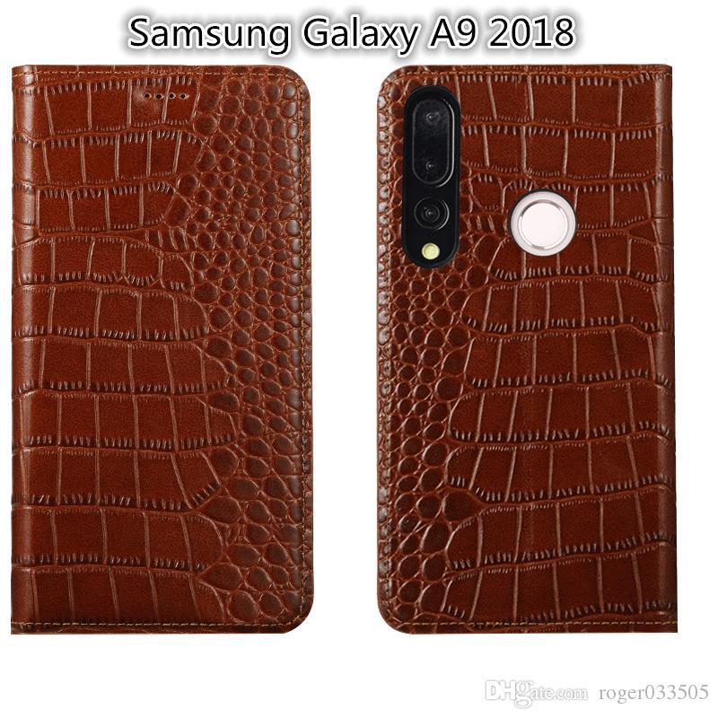 QX02 Cuoio genuino del basamento di vibrazione del basamento Coque per la cassa del telefono Samsung Galaxy A9 2018 per la fessura per carta della borsa del telefono di Samsung Galaxy A9 2018