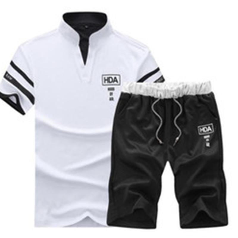 Men Sweat Suits Brand Clothing Casual Suit Men Summer Sets Tracksuits Stand Collars Streetwar Tops Tees +Shorts Fashion Mens Set Trend S-4XL