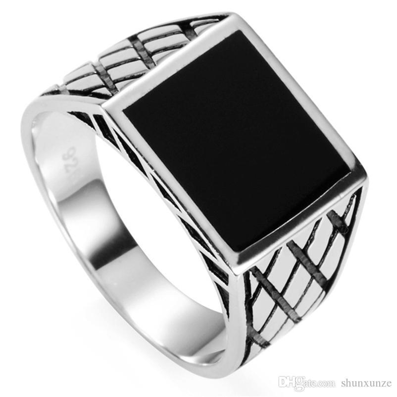 Shunxunze Flash Sale 925 Sterling Zilveren Ringen Sieraden Accessoires voor Mannen Engagement Bruiloft Geschenken Zwart Enamel Charm S-3780 Maat 7 - 13