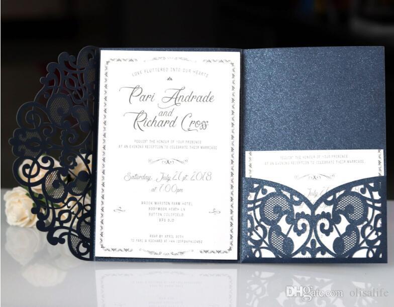 Compre Venta Caliente Azul Marino Tarjetas De Invitaciones De Boda Con Corte Láser 2018 Nuevo Diseño De Invitación De Boda Personalizada Tarjeta De