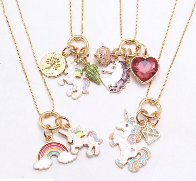 متعدد تصميم أطفال يونيكورن مجوهرات قلادة يونيكورن قوس قزح قلادة قلادة أطفال فتاة مجوهرات هدية عيد