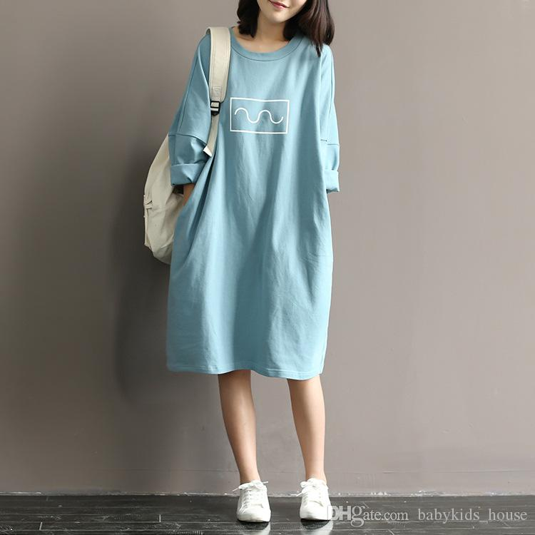 2021 Maternity T Shirt Dress 100 Cotton Dress Clothes For Pregnant Women Dress Tops Long Sleeve Maternity Dresses Pregnancy Clothes From Babykids House 13 94 Dhgate Com
