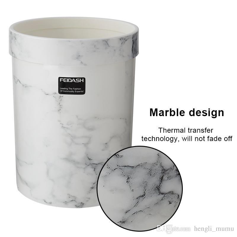 2019 Marble Pattern Trash Can Plastic Office Bathroom Kitchen Trash Bin  Living Room Bedroom Waste Bin Without Lid European Style ZJ0268 From ...