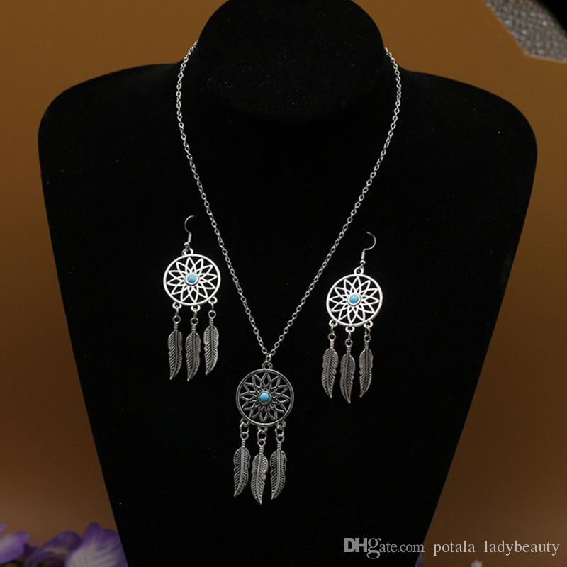 European&American Jewelry Necklace Earring Ethnic Dangle&Chandelier Bohemian Dream Net Feather Necklace Dream Catcher For Women Earring