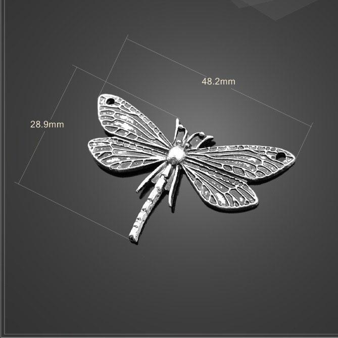 10 UNIDS / Lote 28.9mm * 48.2mm sharma metal diy accesorios hechos a mano de plata antigua grandes encantos de la libélula para hacer joyas Hacer joyas por mayor
