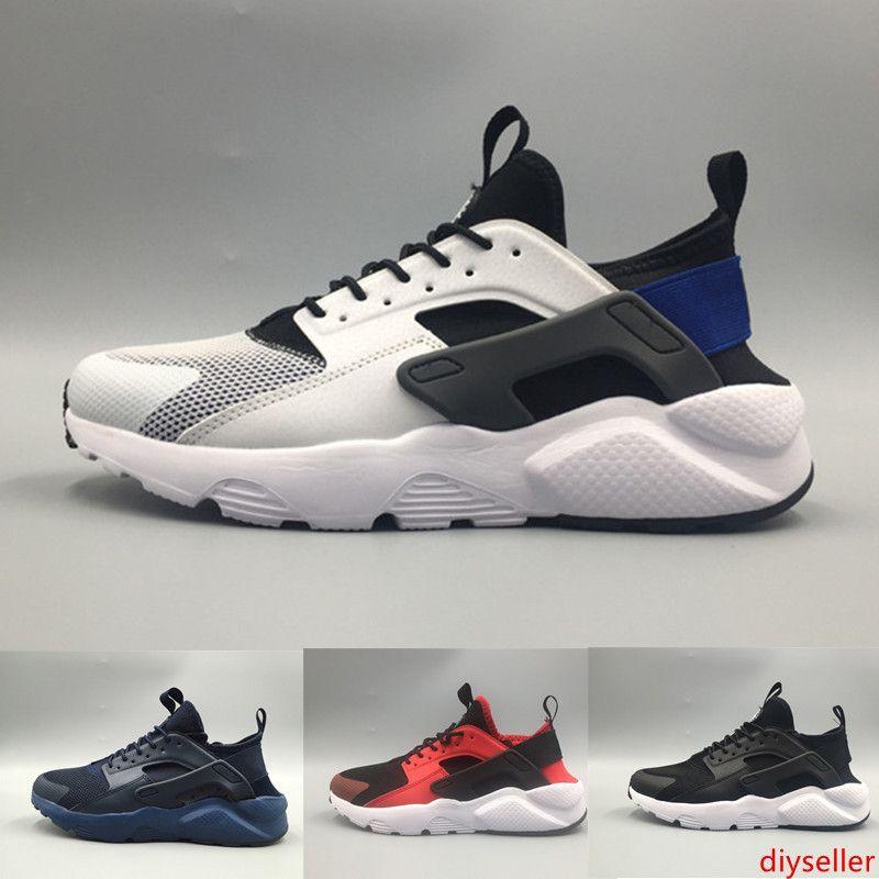2019 Huarache 4 IV zapatos más nuevos de diseño para hombre de atletismo Para Mujeres Negro Blanco Gris zapatillas de deporte de Triple huaraches Correr Deportes EUR36-45