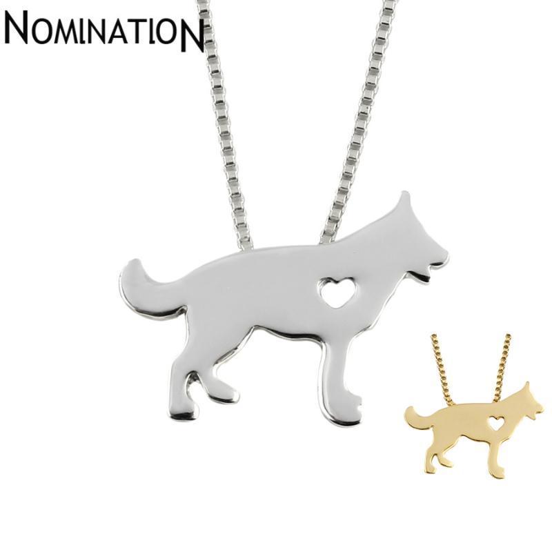 Colar do cão pastor G.SKY cão Colar alemão pingente de jóias de prata / cores banhado a ouro