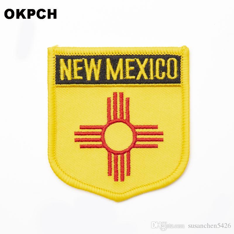 미국 뉴 멕시코 부패 6 * 7cm 철 배지에 수 놓은 옷 배지 의류 스티커 1pcs 6 * 7cm
