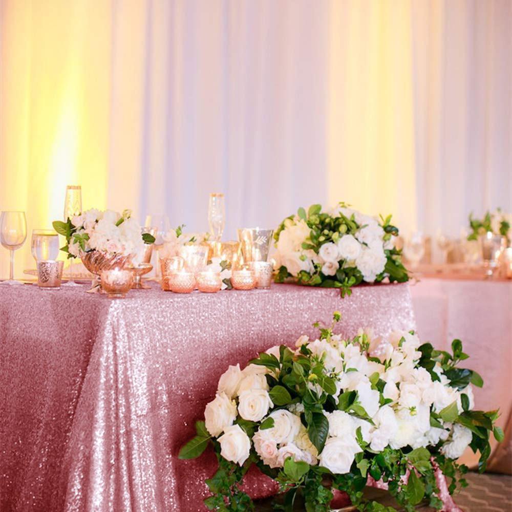 60x102 pulgadas rosa de lentejuelas de oro Mantel, Cubierta de mesa rectangular, con lentejuelas de oro rosa de lentejuelas Manteles Textil para boda-A