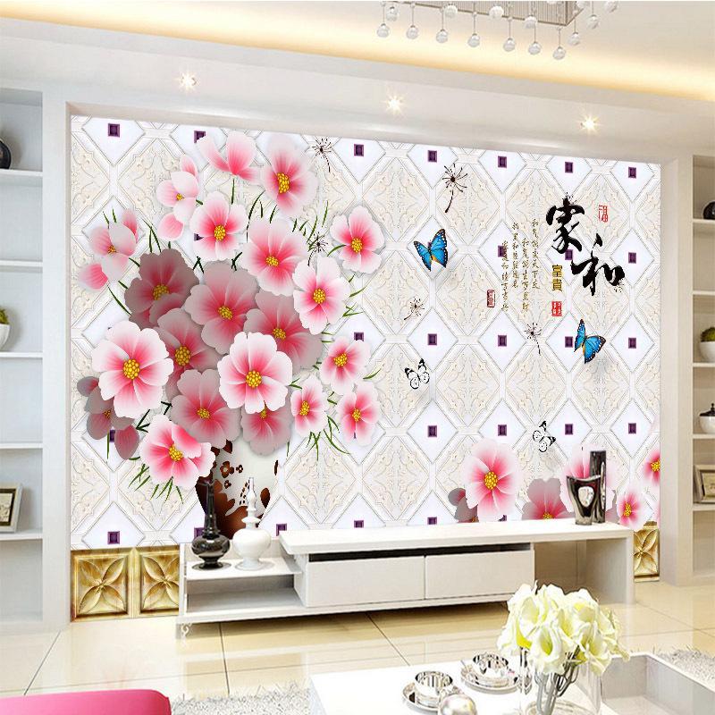 나비 벽이 조화를 취재 화이트와 핑크 식물상이 풍부한 가정용 데코를 제공 벽지 중국 스타일의 3 차원 사용자 정의 벽화