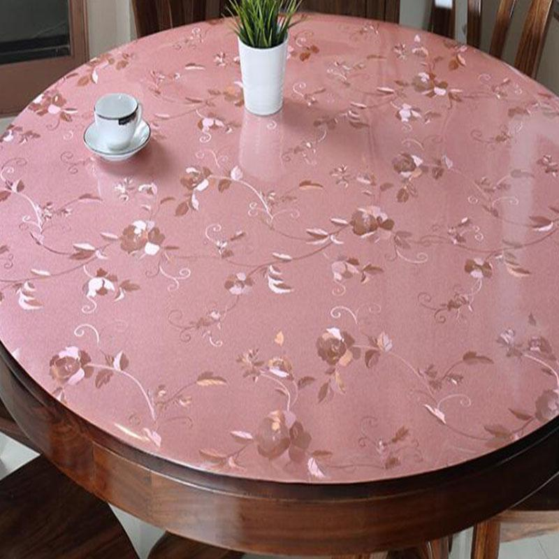 BALLE Round PVC Table Cover Transparent Cover Protector Desk Pad Soft Glass Dining Tablecloth Heavy Duty Plastic Mat-Pink Rose