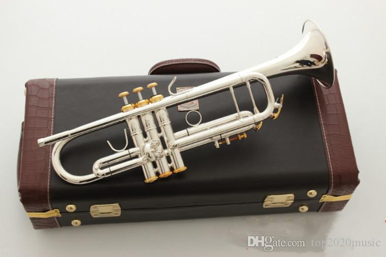ستراديفاريوس أفضل جودة LT197S-99 B البوق شقة بالفضة الفنية البوق آلات موسيقية مع حالة شحن مجاني