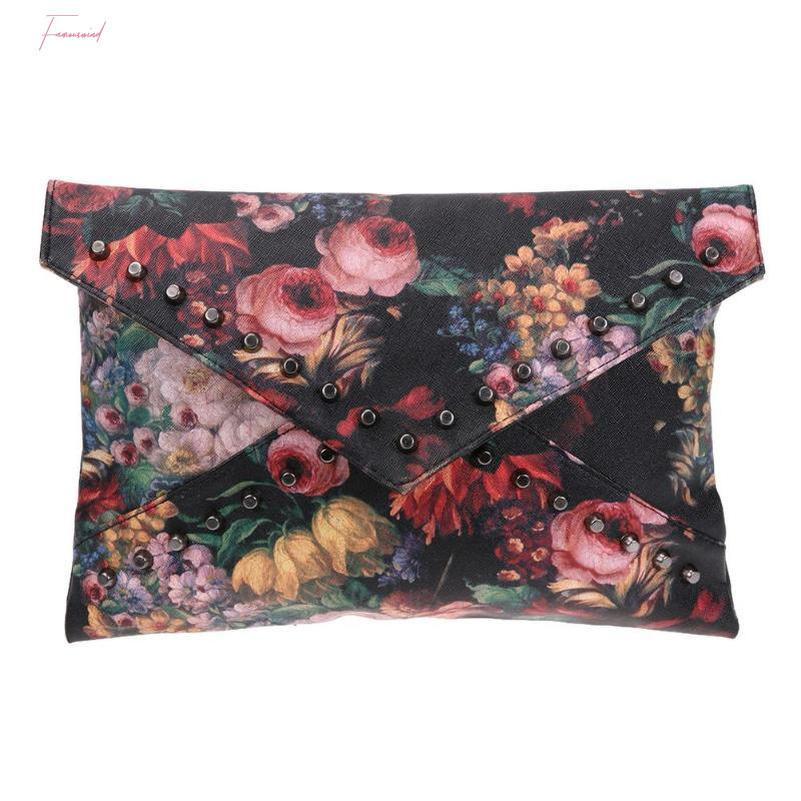 리벳 핸드백 여성 봉투 가방 여성 여성 패션 어깨 크로스 바디 백 회화 꽃 무늬 클러치 백 오일