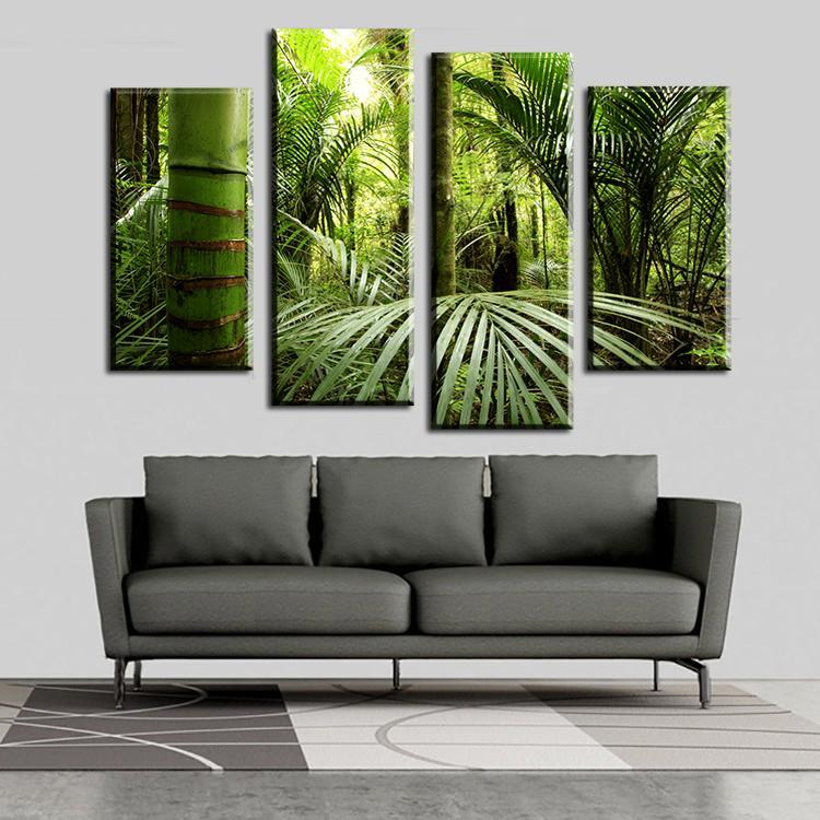 Cuadros 4 pièces / Set La Belle Peinture murale jungle tropicale sur la toile pour imprimer Home Decor Unframed Imprimer Poster Art