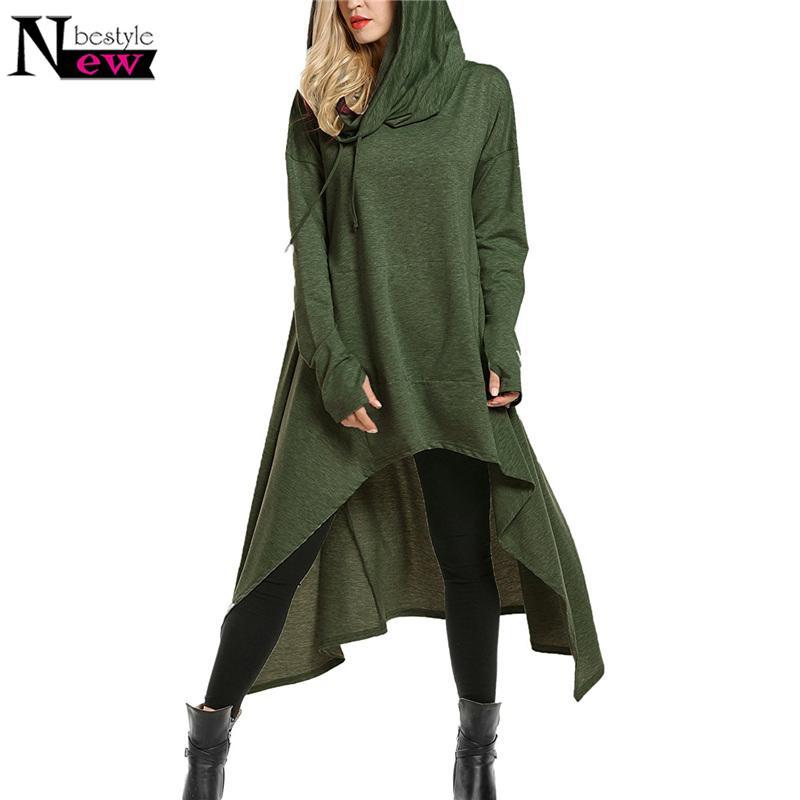Newbestyle 여성의 대형 높은 낮은 문자열 후드 튜닉 후드 스웨터 느슨한 긴 소매 스윙 드레스 포켓 풀오버 Y190830