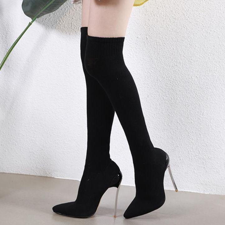 Designer-sexy elastischer dünner Sitz über das Knie Oberschenkel hohe Stiefel Designer-Schuhs
