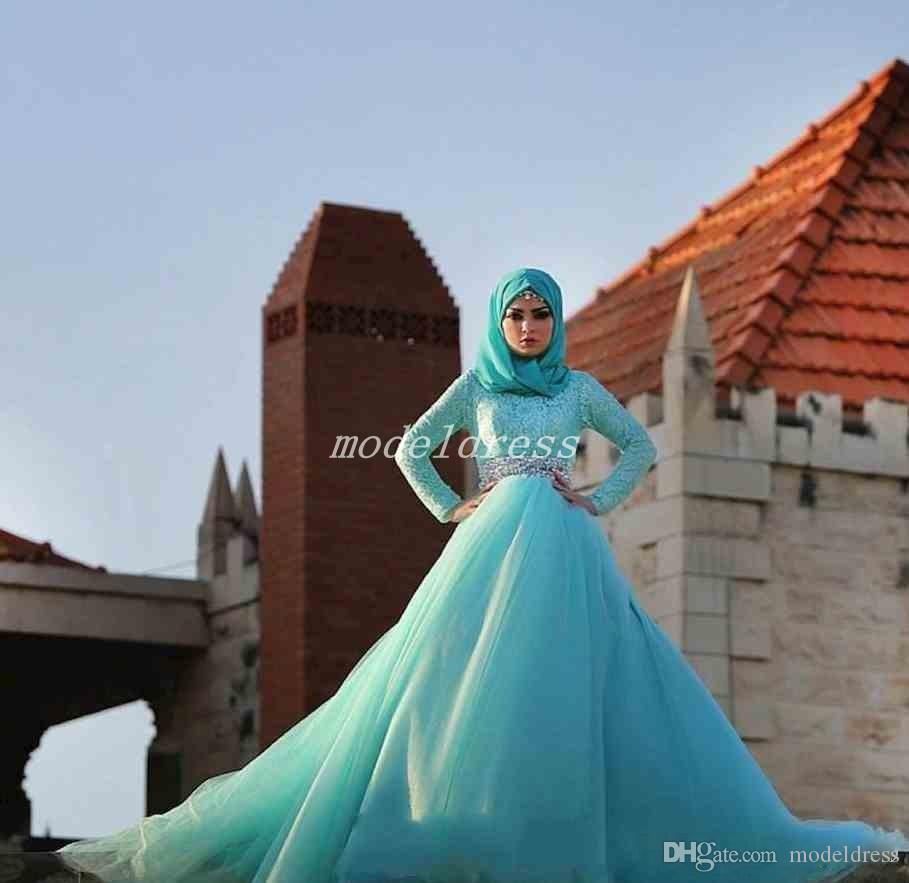 Бирюзовый скромный мусульманские кружева свадебные платья 2019 с длинным рукавом развертки поезд створки хрустальные бусины часовня сад свадебные платья vestido де novia