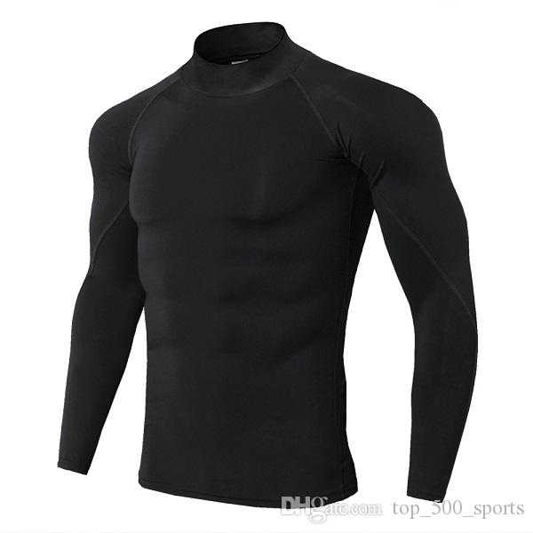 Nouveau manches longues Chemise sport hommes rapide T-shirt sec RuII hommes Stity Gymmy Vêtements Fitness Top Mens Rashgard Soccer Jersey