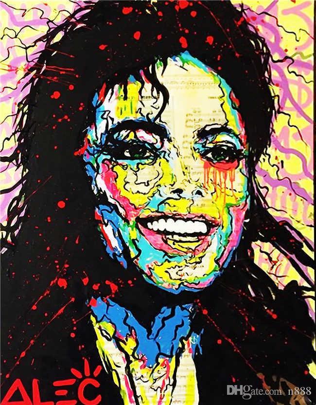Arte de la pared del hogar del cuadro pintado a mano de la decoración de la impresión de HD Pintura Alec Monopoly Banksy óleo en la lona pintada Arte Michael Jackson 191007